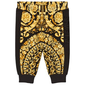 Image of Young Versace Black and Gold Baroque Print Sweat Pants 12 months (3056076837)