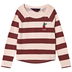 The Animals Observatory Cricket T-shirt Rose Maroon Stripes