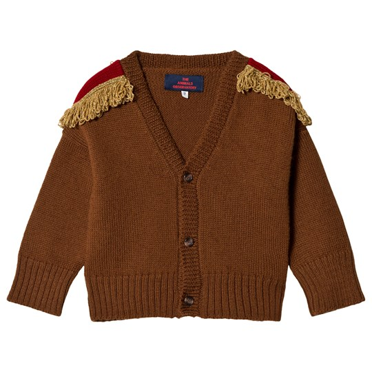 The Animals Observatory Plain Peasant Kids Cardigan Deep Brown Deep Brown