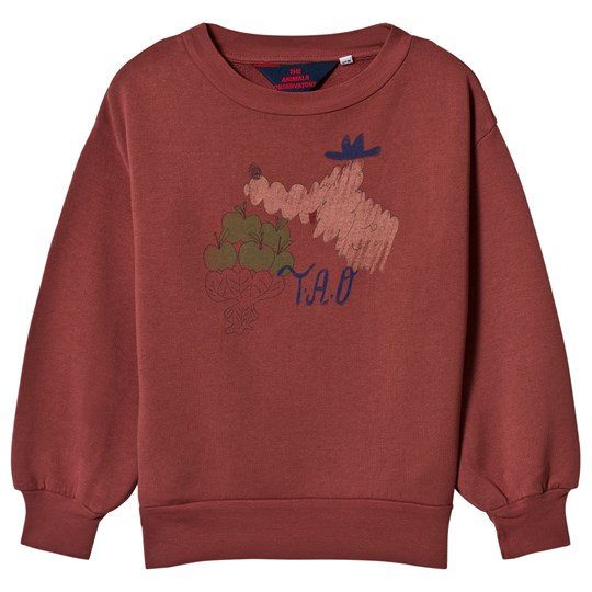 The Animals Observatory Bear Kids Sweatshirt Maroon Bomar Maroon Bomar