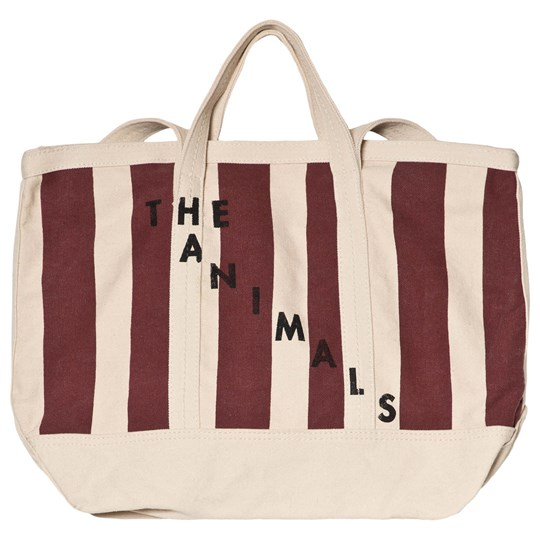 The Animals Observatory Mini Tote Bag Raw White Maroon Stripe Raw White