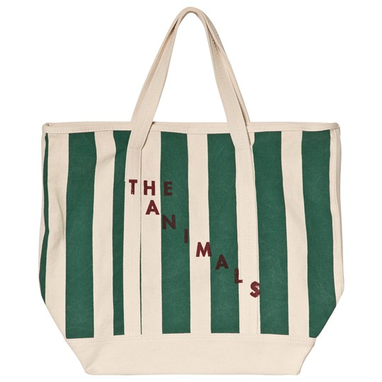 The Animals Observatory Tote Bag Raw White Green Stripe Raw White Navy Stripes