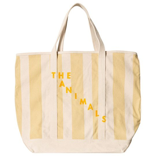 The Animals Observatory Tote Bag Raw White Yellow Stripe Raw White