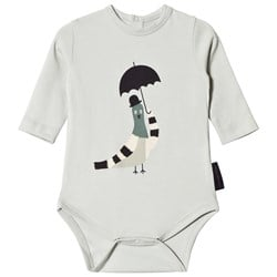 Tinycottons Pigeon Graphic Baby Body Light Grey/Navy/Beige
