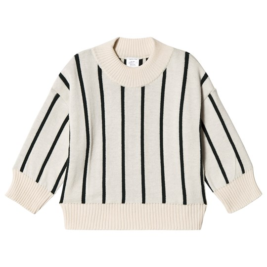 Tinycottons Stripes Mock Sweater Beige/Dark Green beige/dark green
