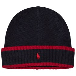 Ralph Lauren Navy and Red Knit Hat with PP