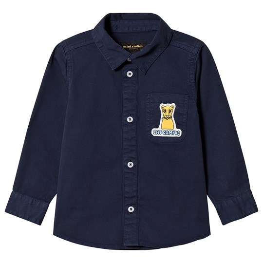 Mini Rodini Cat Campus Woven Shirt Navy Laivastonsininen