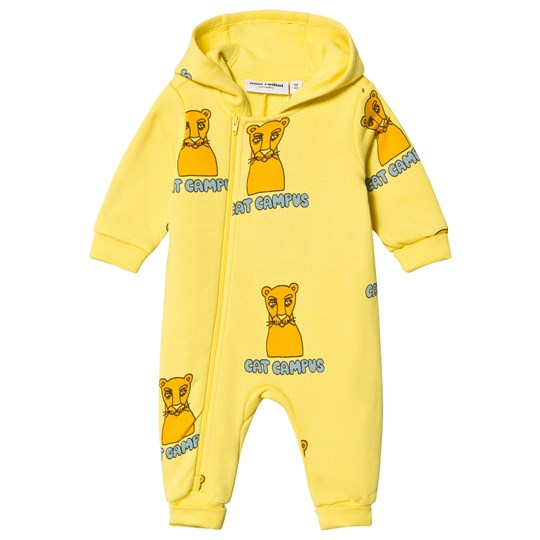 Mini Rodini Cat Campus Onesie Yellow Yellow