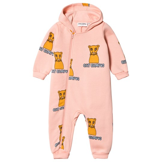 Mini Rodini Cat Campus Onesie Pink Pink