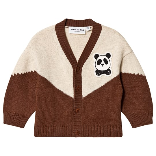 Mini Rodini Panda Knitted Wool Cardigan Brown BROWN