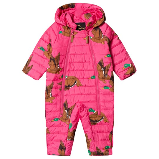 Mini Rodini Ducks Insulator Baby Coverall Cerise Cerise
