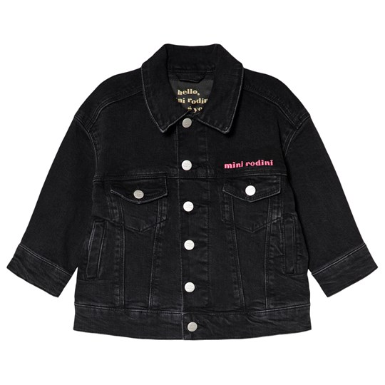 Mini Rodini Cheer Cat Denim Jacket Black Black