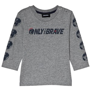 Image of Diesel Grey Only the Brave Branded Long Sleeve Tee 12 months (3056106409)