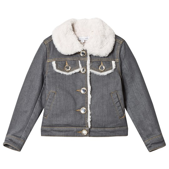 Little Marc Jacobs Grey Denim Jacket with Fur and Embroided Branding Z86