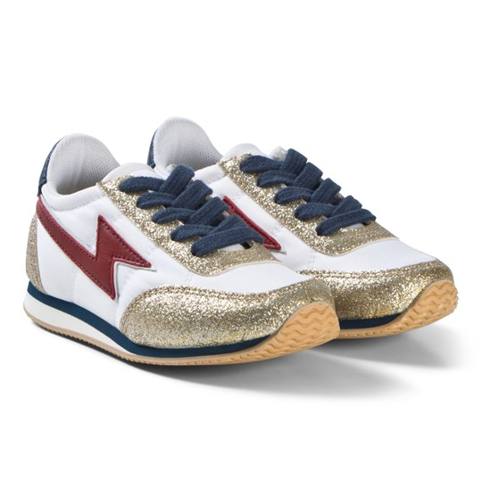 Little Marc Jacobs Lightning Strike Trainers White Gold Red 593