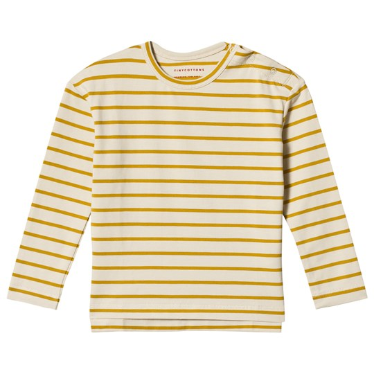 Tinycottons Small Stripes Relaxed Tee Beige/Mustard beige/mustard