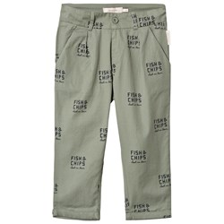 """Tinycottons """"Best In Town"""" Woven Rolled Up Pants Dark Pistachio/Navy"""