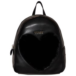 Guess Black Faux Fur Heart Backpack