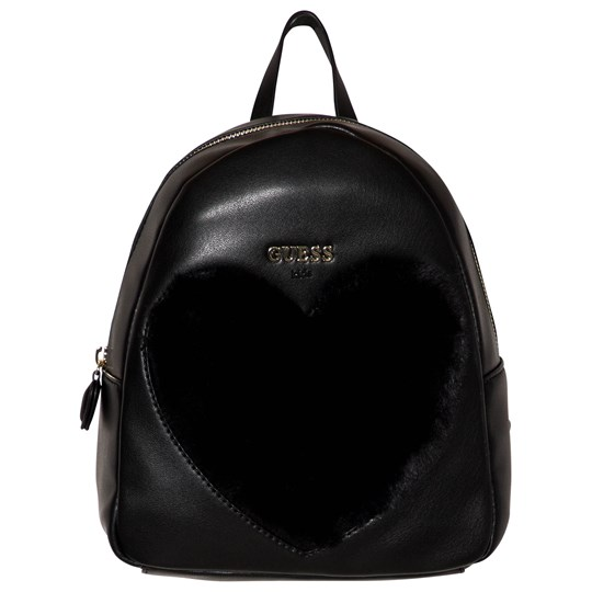 Guess Black Faux Fur Heart Backpack JBLK