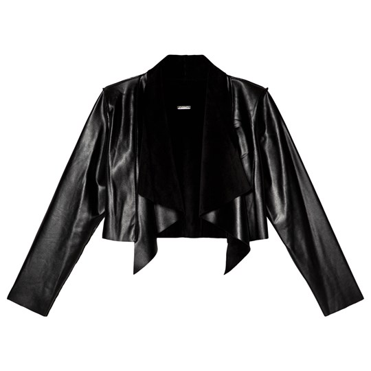 Guess Black Pleather Waterfall Cropped Cardigan JBLK