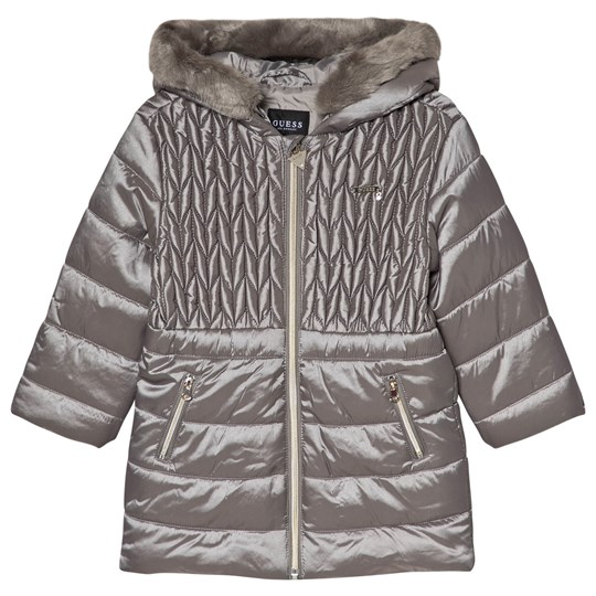 Guess Grey Quilted Padded Long Line Hooded Coat FDGY