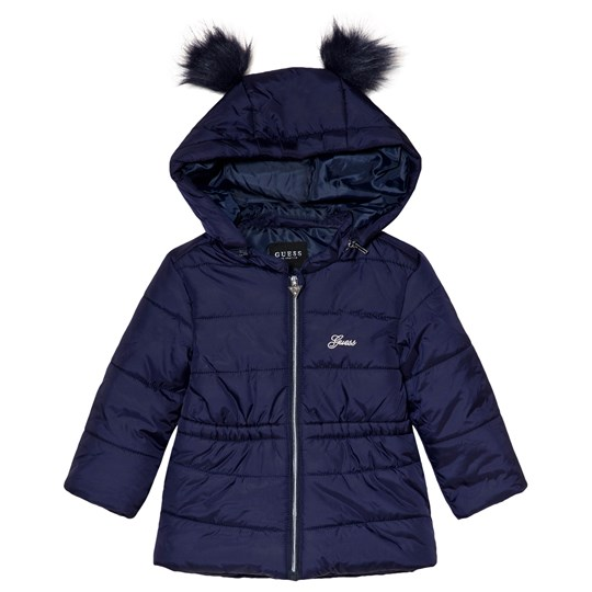 Guess Navy Padded Detachable Hooded Coat with Double Pom Pom DUKB