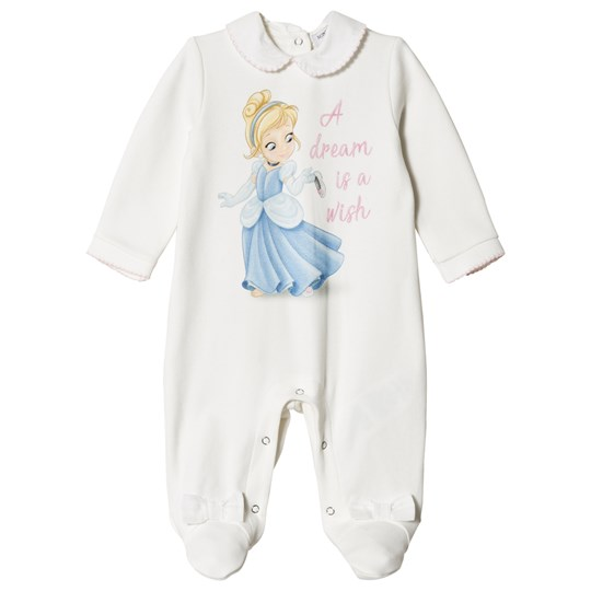 Monnalisa Cream Cinderella Babygrow with Bow Feet 01