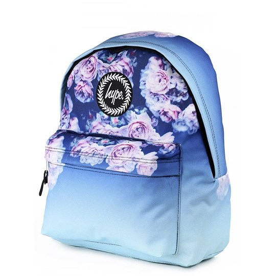 Hype Blue and Purple Rose Print Fade Backpack Blue