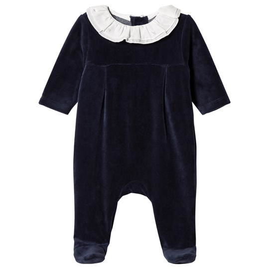 Carrément Beau Navy Velour Footed Baby Body with Voile Collar 849