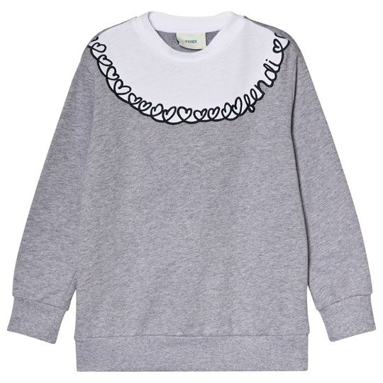 Fendi Grey and White Heart and Fendi Embroidered Sweatshirt F08AA