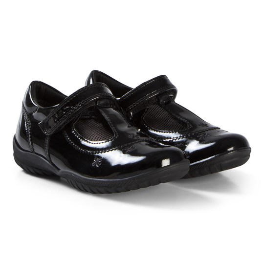 Geox Black Patent Leather Flower Junior Shadow Embroidered T Bar Shoes C9999