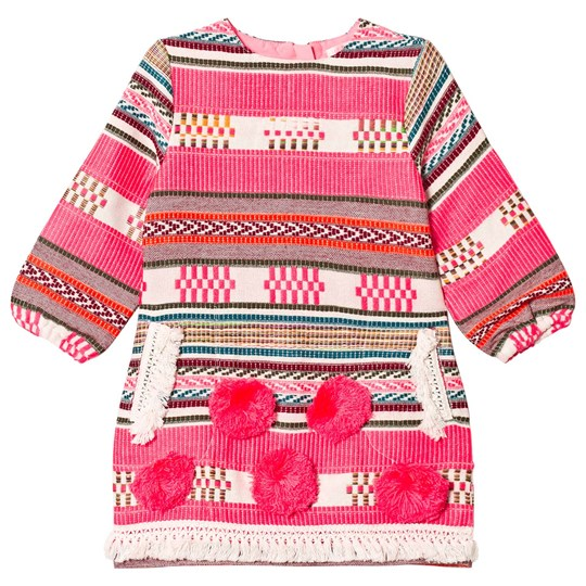 Billieblush Neon Pink Woven Pom Pom Dress Z40