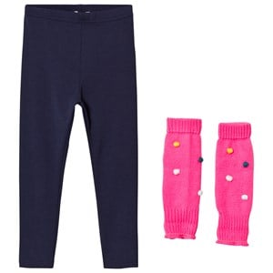 Image of Billieblush Navy Leggings with Fuchsia Pom Pom Leg Warmers 8 years (3056074783)