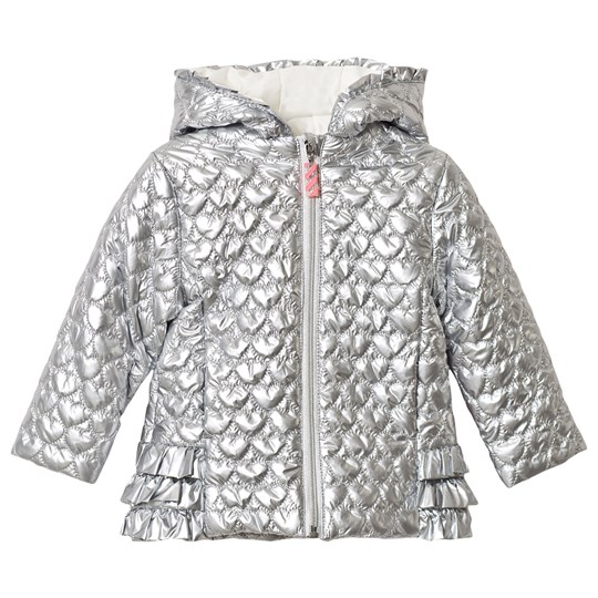 Billieblush Silver Heart Quilted Frill Hooded Coat Z94