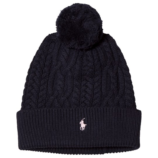 Ralph Lauren Navy Cable Knit Pom-Pom Beanie with PP 001