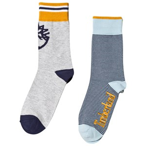 Image of Timberland 2 Pack Navy and Grey Stripe Socks 23 (UK 6) (3056077357)