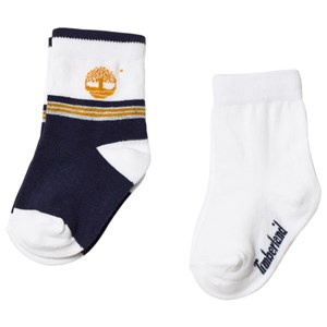Image of Timberland 2 Pack of Navy and White Logo Socks 17cm (6-9 months) (3056077499)