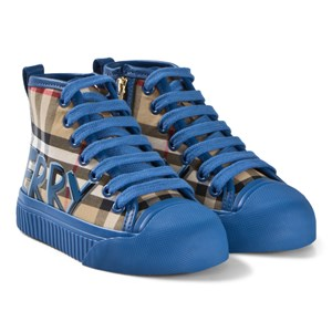Image of Burberry Antique Check and Blue Branded Zip and Lace Hi-Top Sneakers 23 (UK 6) (3056110933)