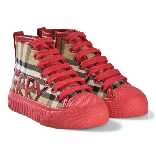 Burberry Antique Check and Red Branded Zip and Lace Hi-Top Sneakers Bright Red