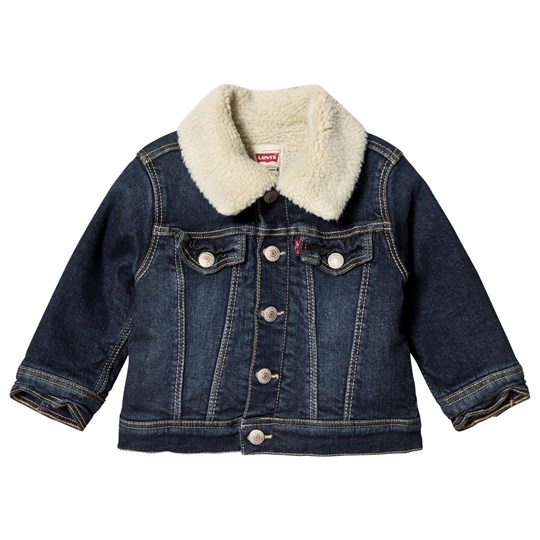 Levis Kids Blue Denim Sherpa Lined Trucker Jacket 46