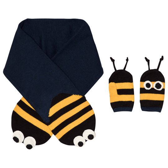 Stella McCartney Kids Elvira & Snappy Scarf and Gloves Navy/Yellow 3064 - Petrol