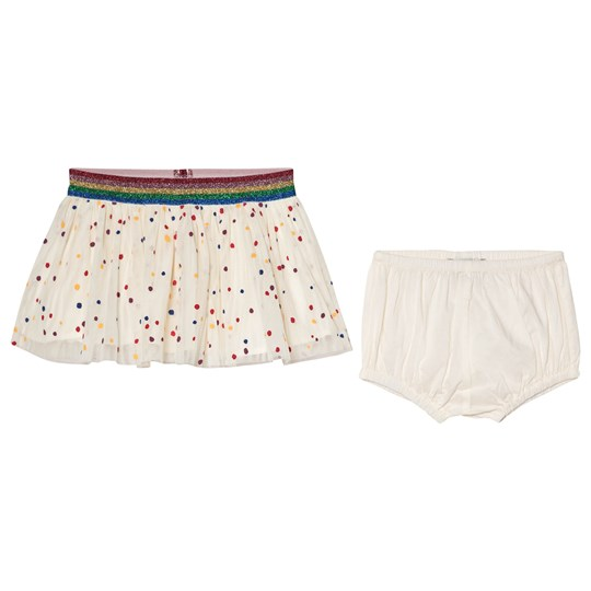 Stella McCartney Kids Skirt with Multicolor Spots White 9085 - Multicolor Dots Pr