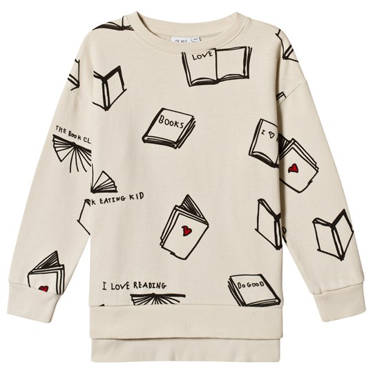 Beau Loves Books Relaxed Fit Sweatshirt Natural/Black Natural Books AOP Black