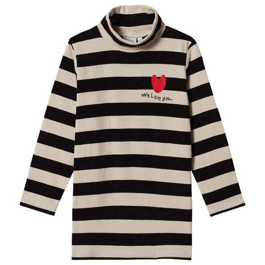 Beau Loves Stripes Turtle Neck Top Black Off White Stripes Black + Embroidery