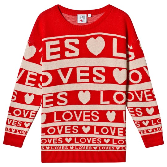 Beau Loves Loves Stripes Knit Sweater Red/Cream Red/Cream Loves Stripes AOP