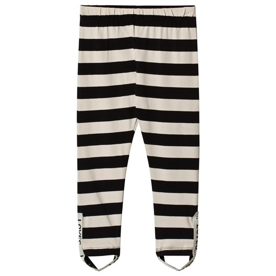 Beau Loves Stripes Elastic Band Jacquard Leggings Off White/Black Off White/Black Stripes
