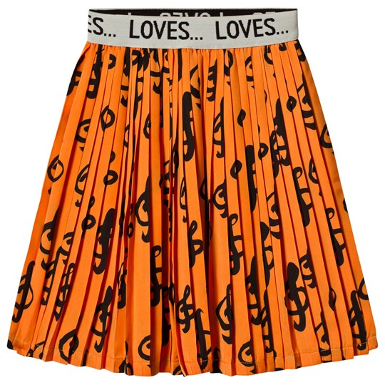 Beau Loves Music Elastic Band Jacquard Pleated Skirt Orange/Black Orange Music AOP Black