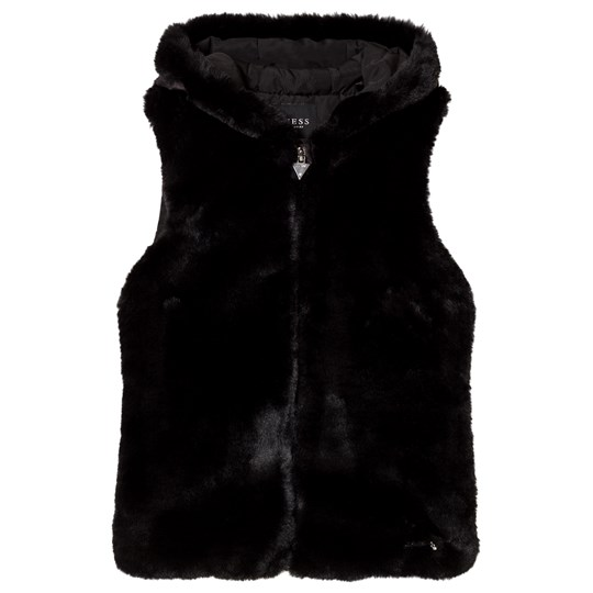 Guess Black Faux Fur Front Hooded Gilet JBLK