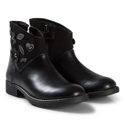 Geox Black Leather and Suede Flower Junor Sofia Boots
