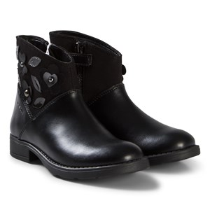Image of Geox Black Leather and Suede Flower Junor Sofia Boots 29 (UK 11) (3056087257)